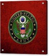U. S.  Army Emblem Over Red Velvet Acrylic Print