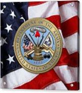 U. S. Army Seal Over American Flag. Acrylic Print