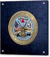 U. S. Army Seal Over Blue Velvet Acrylic Print
