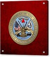U. S. Army Seal Over Red Velvet Acrylic Print