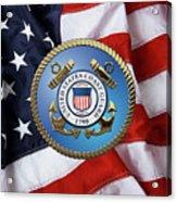 U. S. Coast Guard - U S C G Emblem Over American Flag Acrylic Print