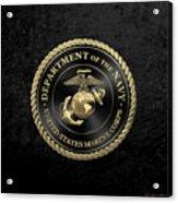 U S M C Emblem Black Edition Over Black Velvet Acrylic Print