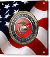 U S M C Emblem Over American Flag Acrylic Print