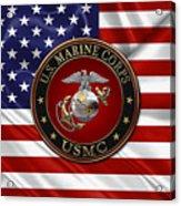 U. S.  Marine Corps - C O And Warrant Officer E G A Special Edition Over U. S.  Flag Acrylic Print