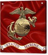 U. S.  Marine Corps - N C O Eagle Globe And Anchor Over Corps Flag Acrylic Print