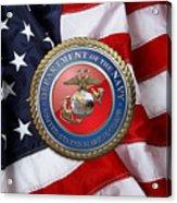 U. S. Marine Corps - U S M C Seal Over American Flag. Acrylic Print