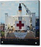 U S N Hospital Ship, Comfort In Boston's Dry Dock Acrylic Print
