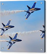 U S Navy Blue Angeles, Formation Flying, Smoke On Acrylic Print