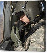 Uh-60 Black Hawk Crew Chief Looking Acrylic Print