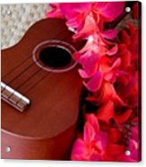 Ukulele And Red Flower Lei Acrylic Print