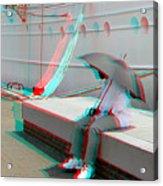 Umbrella Man - Use Red-cyan 3d Glasses Acrylic Print