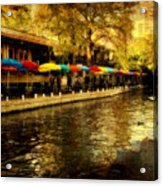 Umbrellas In The Riverwalk Acrylic Print by Iris Greenwell