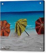 Umbrellas On The Beach Acrylic Print