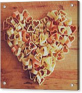 Uncooked Heart-shaped Pasta Acrylic Print by Julia Davila-Lampe