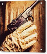 Undead Mummy  Holding Handgun Against Wooden Wall Acrylic Print