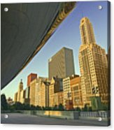 Under The Bean And Chicago Skyline Acrylic Print