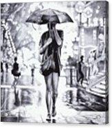 Under The Umbrella - Ballpoint Pen Art Acrylic Print