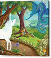 Unicorn And Dragon And Fairies And Elves - Illustration #9 In The Infinite Song Acrylic Print