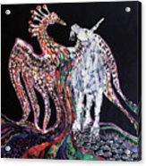 Unicorn And Phoenix Merge Paths Acrylic Print