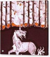 Unicorn Below Trees In Autumn Acrylic Print by Carol  Law Conklin