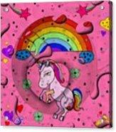 Unicorn Popart By Nico Bielow Acrylic Print