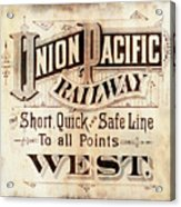 Union Pacific Railroad - Gateway To The West  1883 Acrylic Print