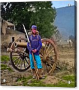Union Soldier With Cannon Acrylic Print