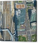 Union Station Train Yard Toronto From The Cn Tower Acrylic Print