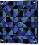 Unique Bold Hip Blue Cyan Grey Black Geometric Pattern Acrylic Print