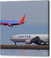 United Airlines And Southwest Airlines Jet Airplane At San Francisco International Airport Sfo.12087 Acrylic Print by Wingsdomain Art and Photography