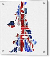 United Kingdom Typographic Kingdom Acrylic Print