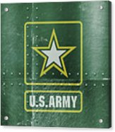 United States Army Logo On Green Steel Tank Acrylic Print