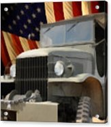 United States Army Truck And American Flag  Acrylic Print by Anne Kitzman