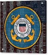 United States Coast Guard Logo Recycled Vintage License Plate Art Acrylic Print