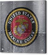 United States Marines Logo On Riveted Steel Acrylic Print