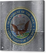 United States Navy Logo On Riveted Steel Boat Side Acrylic Print