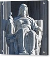 United States Supreme Court, The Contemplation Of Justice Statue, Washington, Dc 3 Acrylic Print