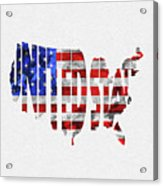 United States Typographic Map Flag Acrylic Print