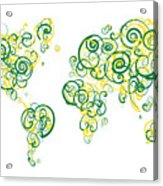 University Of Alberta Colors Swirl Map Of The World Atlas Acrylic Print