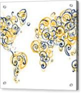 University Of California Berkeley Colors Swirl Map Of The World  Acrylic Print