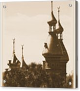 University Of Tampa Minarets With Old Postcard Framing Acrylic Print