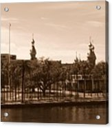 University Of Tampa With River - Sepia Acrylic Print