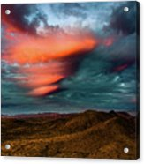 Unusual Clouds Catch Sunset Acrylic Print
