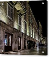 Up Lighting On A European Building At Night  Acrylic Print