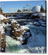 Upper Falls Winter - Spokane Acrylic Print