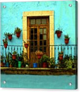 Upper Window In Turqoise Acrylic Print
