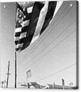 Upraised Flag Support Mlk Day March Tucson Arizona 1991 Acrylic Print