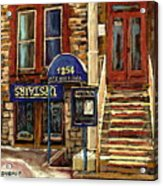Upstairs Jazz Bar And Grill Montreal Acrylic Print by Carole Spandau