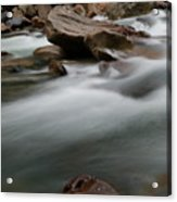 Upturned Rock In A Flowing Stream Acrylic Print