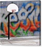 Urban Basketball Hoop Inner City Innercity Wall And Asphalt In O Acrylic Print